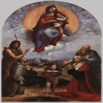 Raphael Sanzio (Italian: Raffaello) (1483 - 1520)  Madonna of Foligno  Oil on canvas, 1510-1511  320 cm &#215; 194 cm (130 in &#215; 76 in)  Pinacoteca Vaticana, Vatican City, Rome, Italy